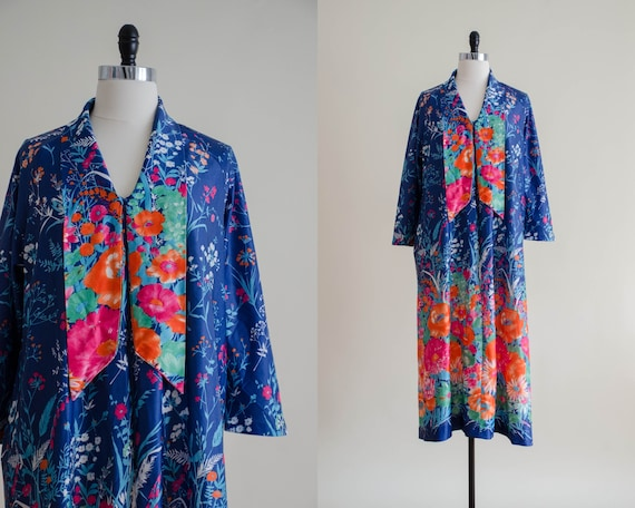 neon floral housecoat | navy floral housecoat