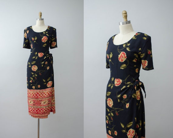 short sleeve dress | floral sarong dress