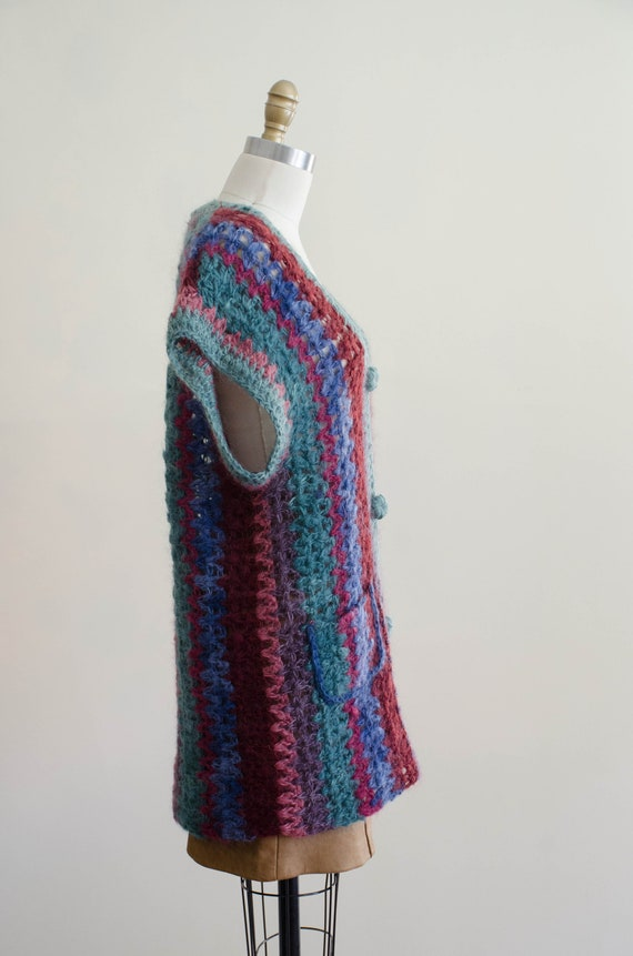 long mohair sweater | hand knit mohair vest | Ros… - image 8
