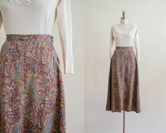 paisley midi skirt | red paisley skirt