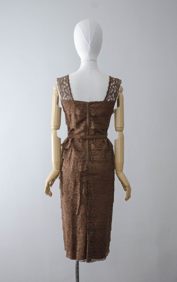 1950s dress and jacket set | brown lace wiggle dr… - image 6