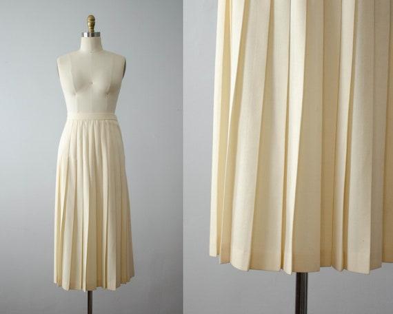 cream pleated wool midi skirt | cream pleated skir