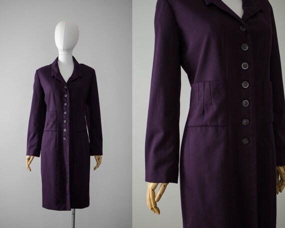 purple wool coat | long wool coat | minimal coat |