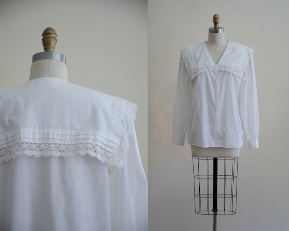 Edwardian style blouse | white cotton blouse | whi