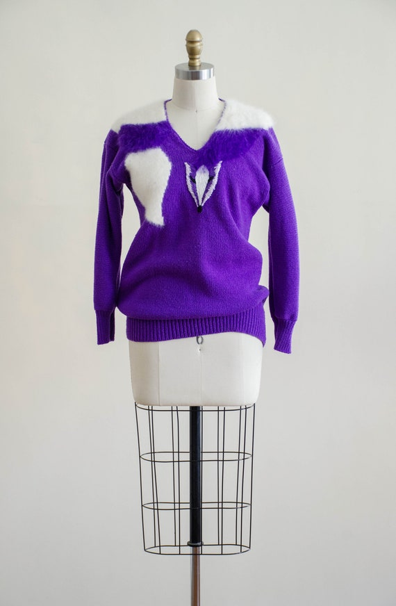 vintage purple fox sweater | fuzzy angora sweater… - image 5