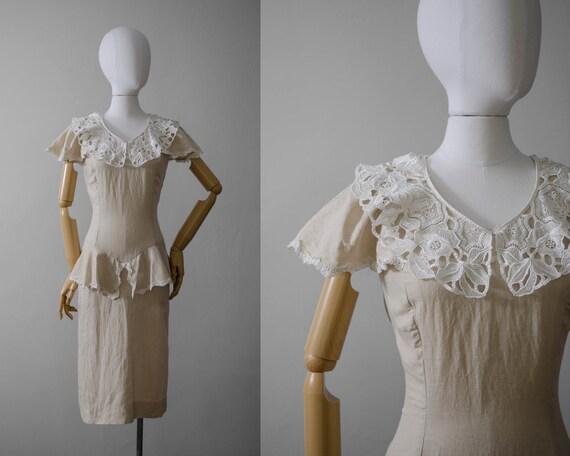 oatmeal linen dress | linen peplum dress | lace dr