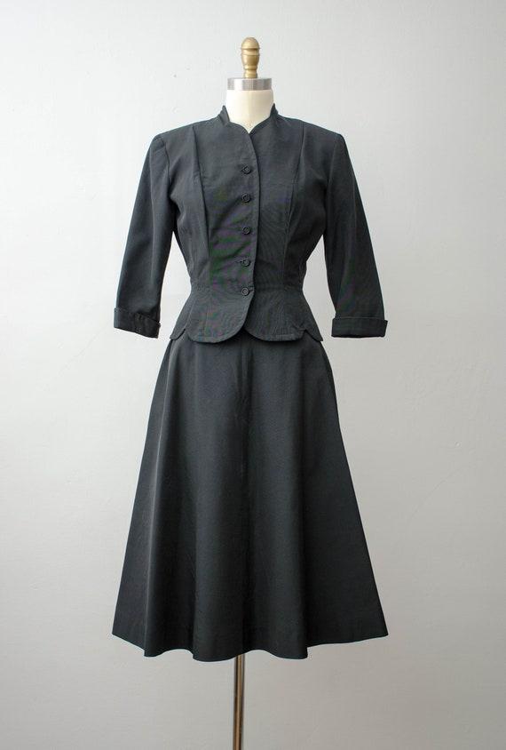 1940s black skirt suit   taffeta skirt suit   Jea… - image 5