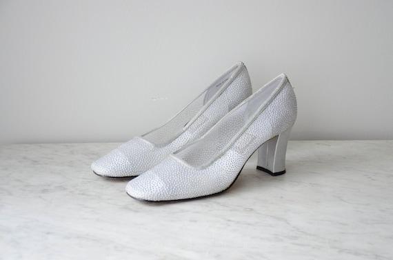 silver mesh heels | silver glitter heels | silver