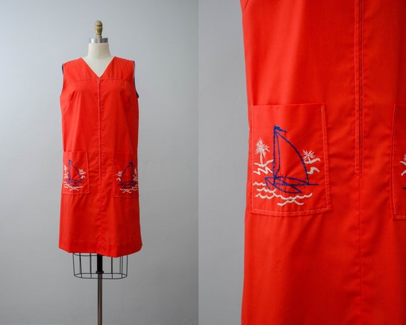 red shift dress | sailboat embroidered shift dress