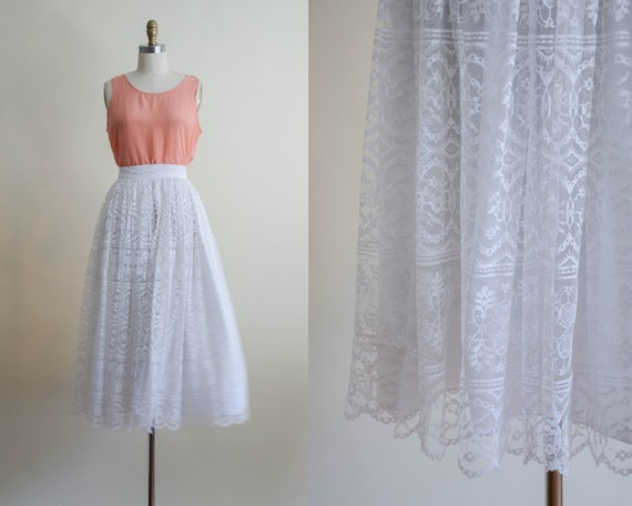 white lace midi skirt | full white lace skirt