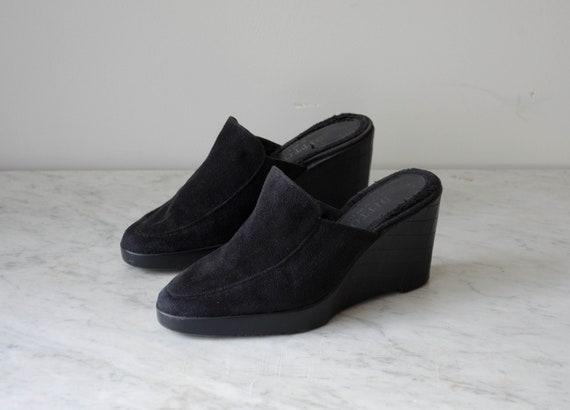 black wedge mules | 90s y2k vintage minimal black… - image 2