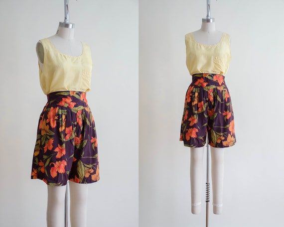 orange floral silk shorts | high waisted shorts
