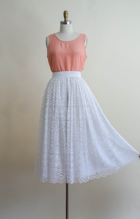 white lace midi skirt | full white lace skirt - image 4