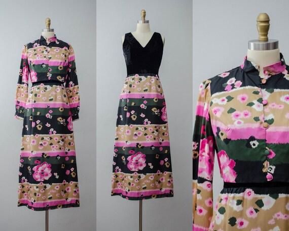 1960s maxi dress set | floral dress set