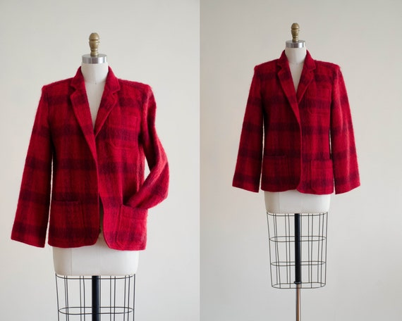 buffalo plaid jacket | red plaid mohair jacket