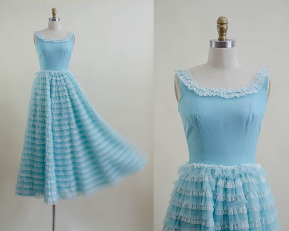 50s blue tulle ball gown   aqua turquoise white l… - image 1