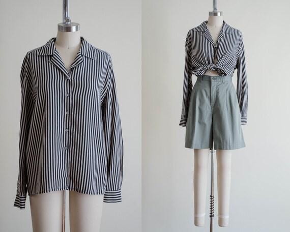 striped silk blouse | black striped blouse