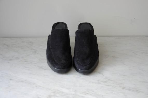black wedge mules | 90s y2k vintage minimal black… - image 4