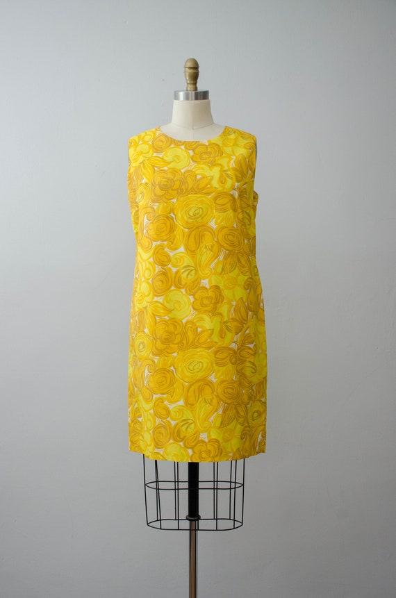 bright yellow shift dress | 1960s sleeveless dress - image 3