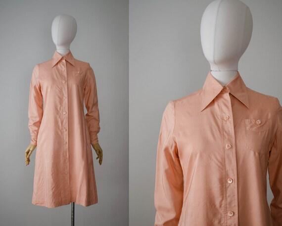 1970s dress | peach silk dress | silk shirtdress