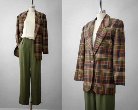 plaid wool blazer | lined blazer