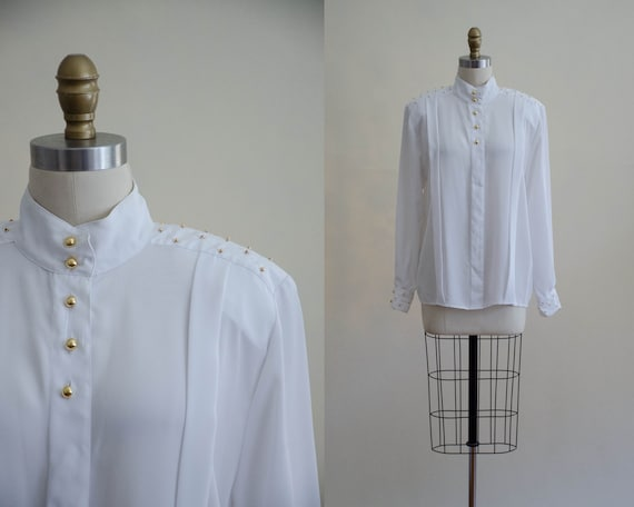 white high collar blouse | gold studded blouse
