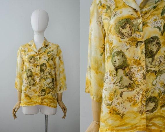 lion novelty print blouse | 1960s blouse