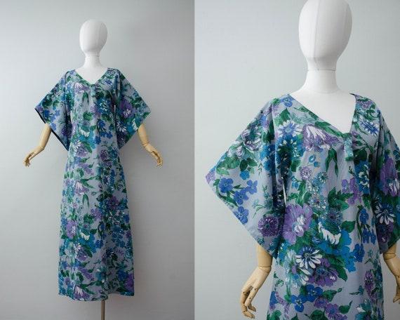 blue floral caftan | blue floral maxi dress