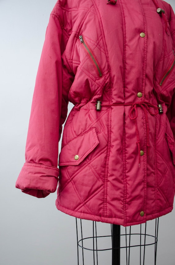 puffy quilted coat   pink quilted jacket   puffer… - image 6