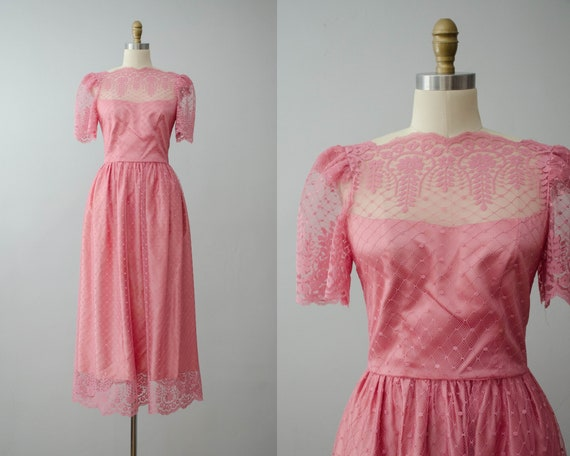 pink party dress | pink lace maxi dress