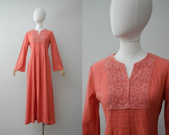 coral peasant dress   bell sleeve dress