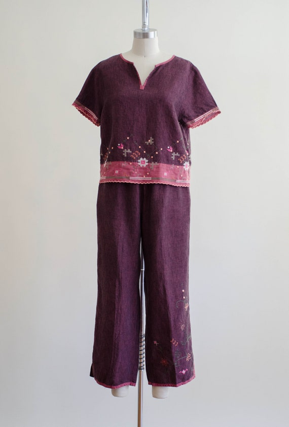 linen lounge set | burgundy embroidered lounge set - image 2