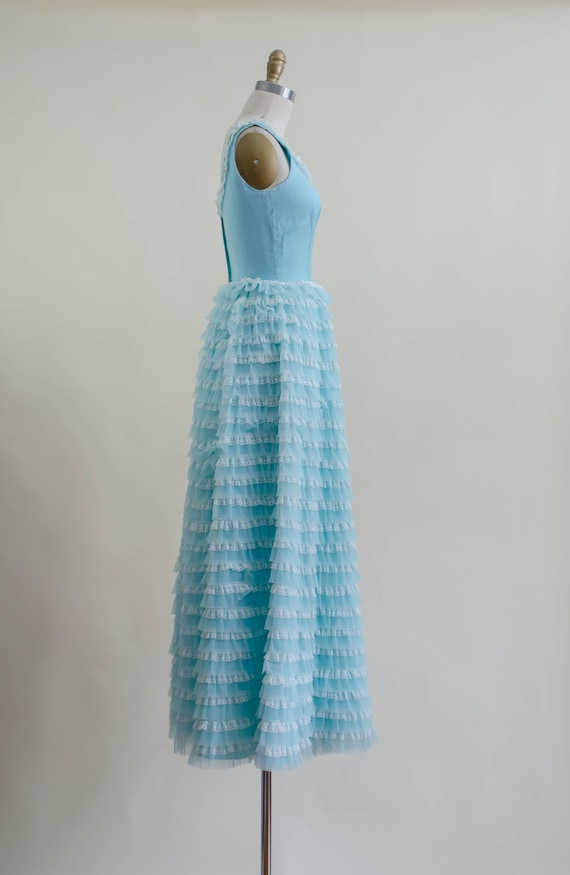 50s blue tulle ball gown   aqua turquoise white l… - image 8