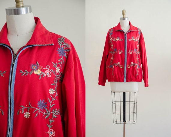 red floral jacket | embroidered folk jacket