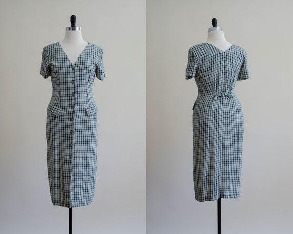 green and cream plaid dress | plaid midi dress