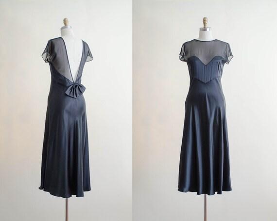 black illusion neckline gown | black silk gown | V