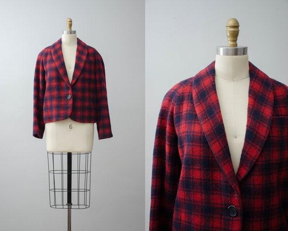plaid wool jacket | red plaid jacket | Peabody Hou