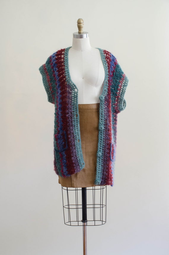long mohair sweater | hand knit mohair vest | Ros… - image 2