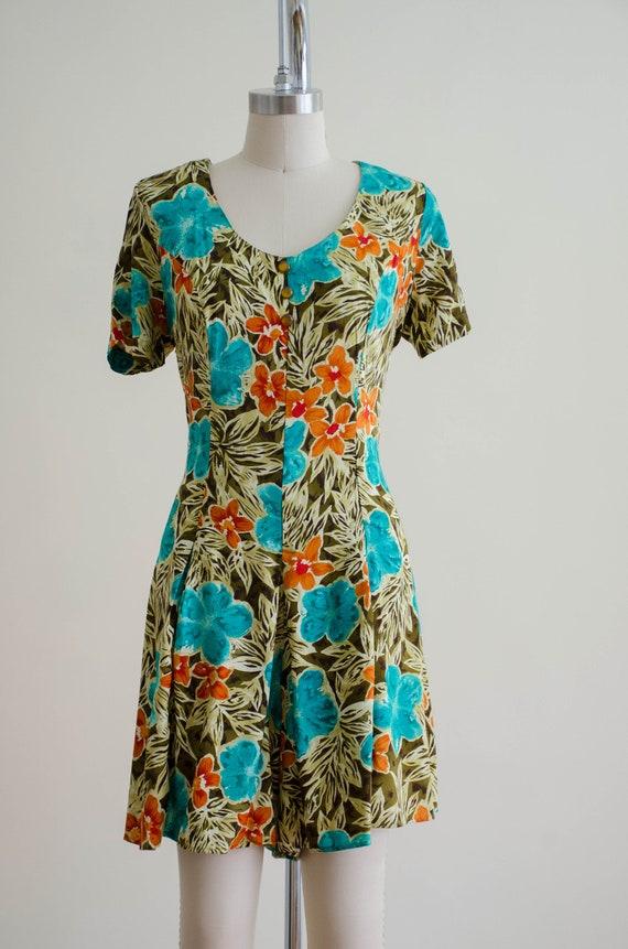 tropical floral romper   short sleeve vintage rom… - image 2