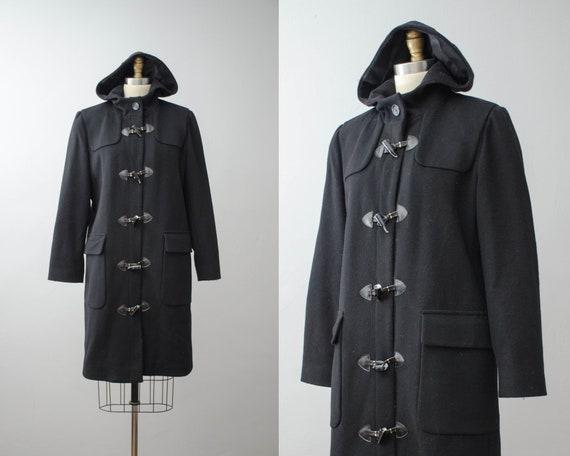 black duffle coat | black wool coat