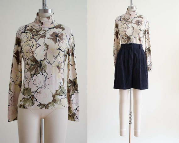 romantic floral turtleneck | silk turtleneck
