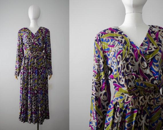 long sleeve dress | Oleg Cassini maxi dress | rayo