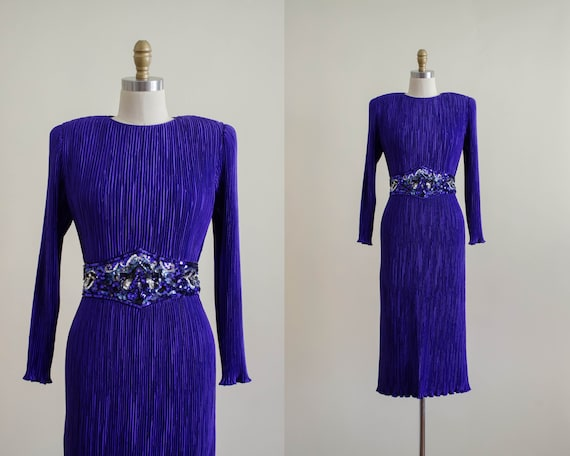 purple pleated dress | plissé dress | purple cockt