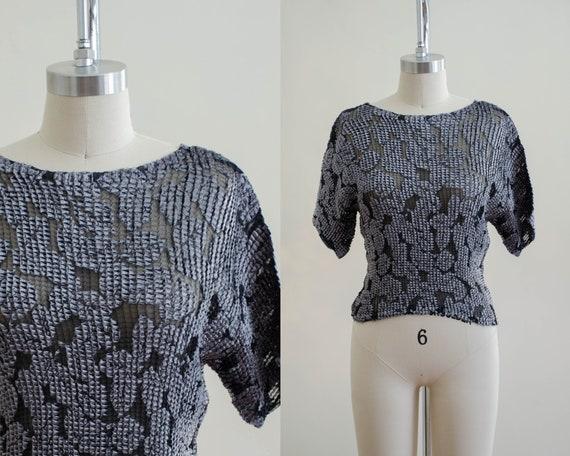 sheer crop top | sheer black shirt | velvet shirt