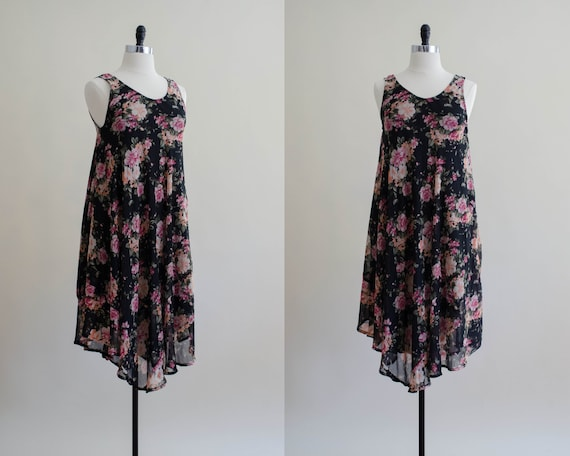 black and pink dress | floral tent dress