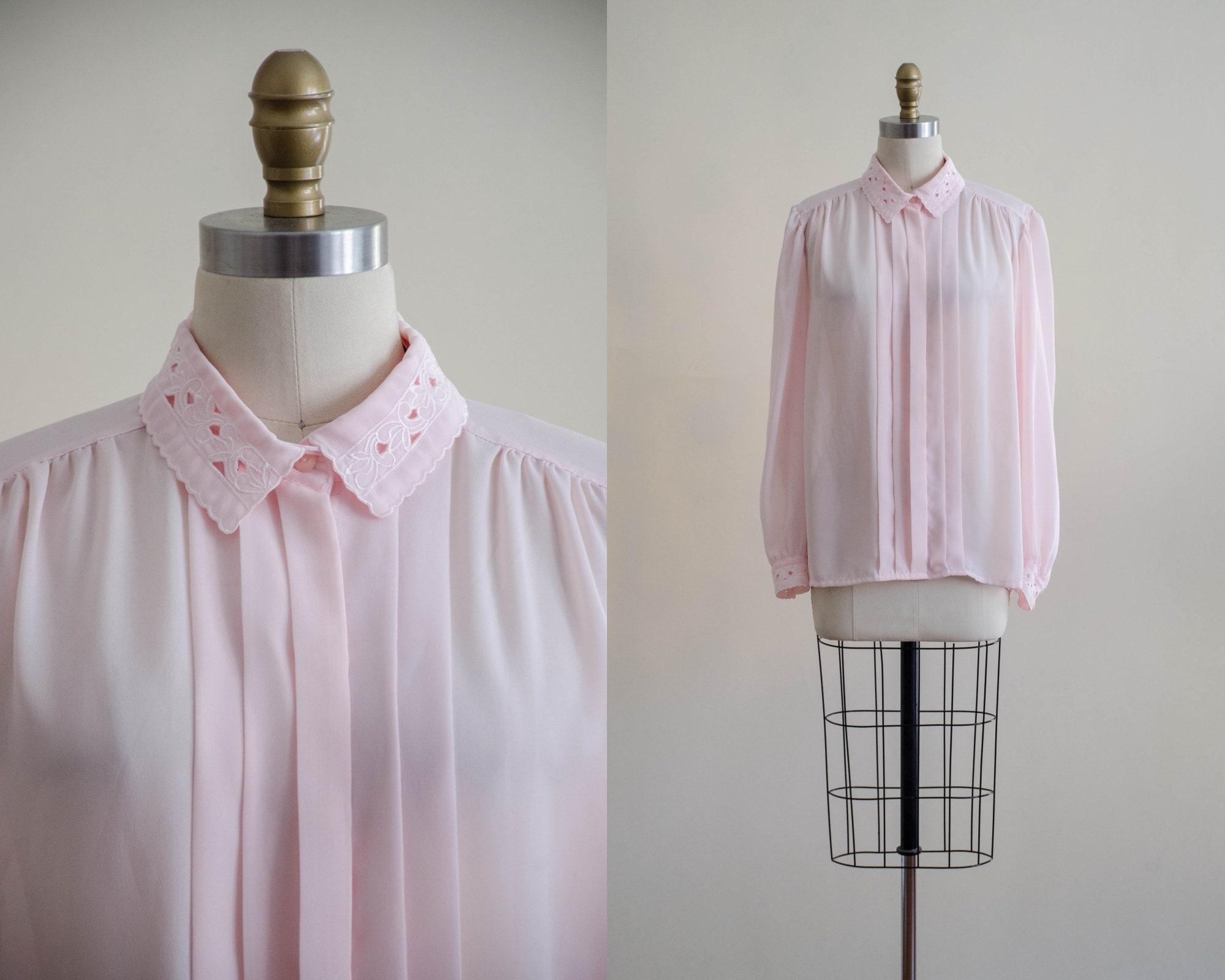 80s Tops, Shirts, T-shirts, Blouse   90s T-shirts 80S Pink Lace Collar Blouse  Blush Embroidered Romantic Cottagecore Vintage Shirt $40.00 AT vintagedancer.com