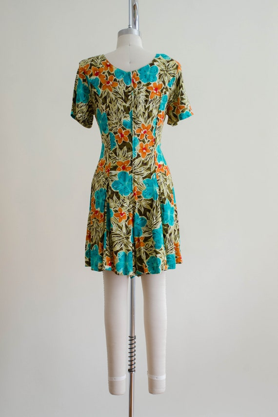 tropical floral romper   short sleeve vintage rom… - image 7