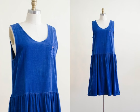 corduroy dress | blue pinafore | corduroy pinafore