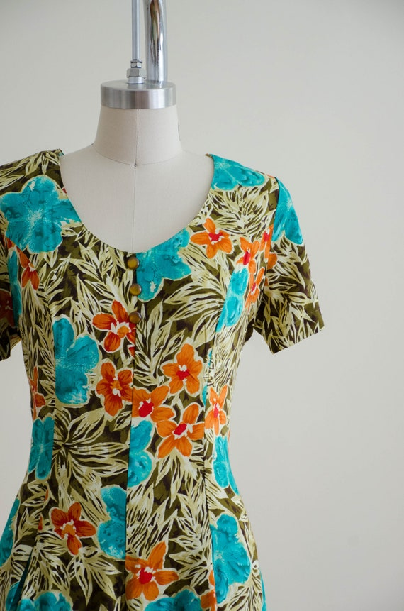 tropical floral romper   short sleeve vintage rom… - image 3