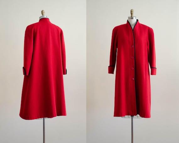red wool coat   red swing coat   red vintage coat